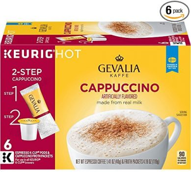 GEVALIA Cappuccino K-CUP Pods and Froth Packets - 6 count (Pack of 6) Deal