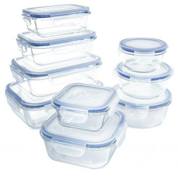 Glass Food Storage Container Set - BPA Free - Use for Home, Kitchen and Restaurant - Snap On Lids Keep Food Fresh With Airtight Seal Safe for Dishwasher, Freezer, Microwave and Oven(18 Piece) Deal