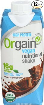 Orgain Plant Based Organic Vegan Nutrition Shake, Smooth Chocolate, 11 Ounce, 12 Count Deal