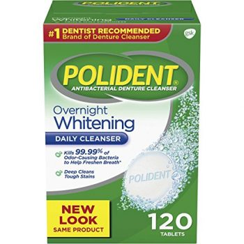 Polident Overnight Whitening Antibacterial Denture Cleanser Effervescent Tablets, 120 count Deal