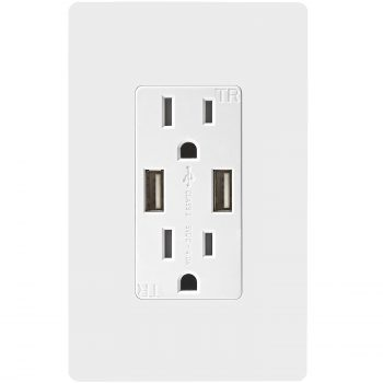 TOPGREENER TU2154A Smart Ultra High Speed USB Charger Outlet 15 AmpTR Receptacle | Screwless Wall Plates Deal