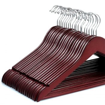Zober Solid Cherry Wood Suit Hangers with Non Slip Bar and Precisely Cut Notches Deal