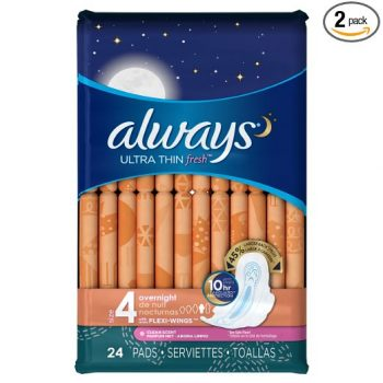 Always Ultra Overnight With Wings, Clean Scent Thin Pads 24 Count (Pack of 2) Deal
