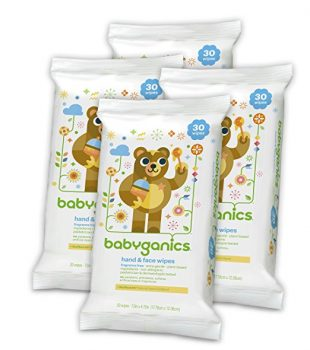 Babyganics Hand & Face Wipes, Fragrance Free, 30 Count (Pack of 4, 120 Total Wipes) Deal