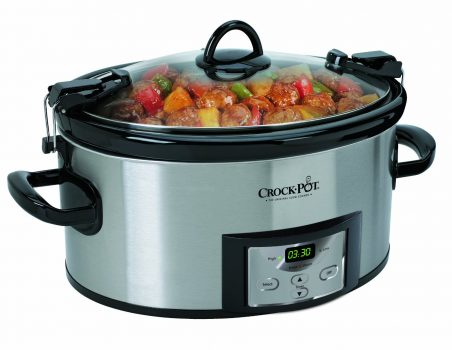 Crock-Pot 6-Quart Programmable Cook & Carry Slow Cooker with Digital Timer, Stainless Steel Deal