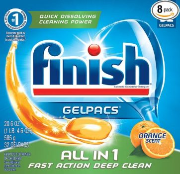 Finish All In 1 Gelpacs, Orange 256 Tabs (8 Packs x 32 Tabs), Dishwasher Detergent Tablets Deal