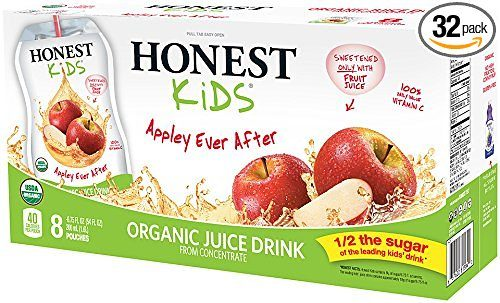 HONEST Kids Organic Juice Drink, Appley Ever After, 8 count 6.75 fl oz Pouches (Pack of 4) Deal