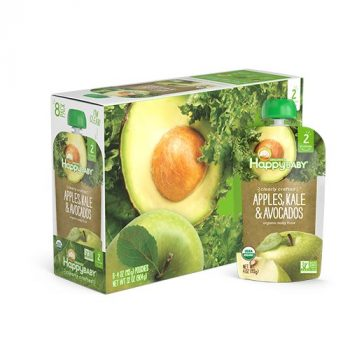 Happy Baby Clearly Crafted Organic Baby Food Stage 2, Apples Kale & Avocados, 4 Ounce, 16 Count Deal