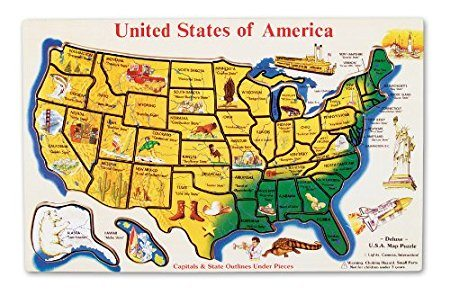 Melissa & Doug USA Map Wooden Puzzle (45 pcs) Deal