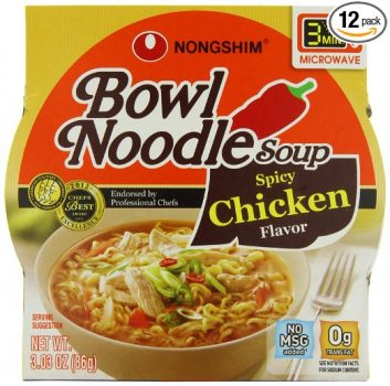 NongShim Bowl Noodle Soup, Spicy Chicken, 3.03 Ounce (Pack of 12) Deal