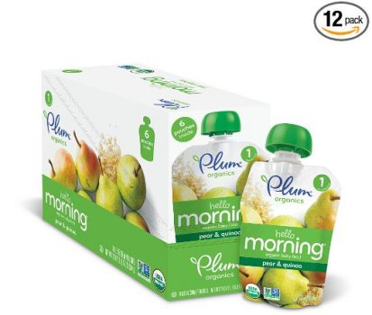 Plum Organics Hello Morning, Organic Baby Food, Pears & Quinoa, 3.5 ounce pouch (Pack of 12) Deal