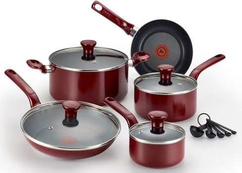 T-fal C514SE Excite Nonstick Thermo-Spot Dishwasher Safe Oven Safe PFOA Free Cookware Set, 14-Piece Deal