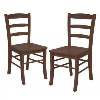 Winsome Wood Ladder Back Chair, RTA, Antique Walnut, Set of 2 Deal