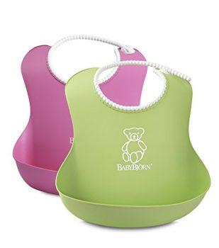 BABYBJORN Soft Bib, Pink:Green, 2 Pack Deal