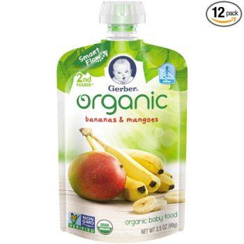 Gerber Organic 2nd Foods Baby Food, Bananas & Mangoes, 3.5 oz Pouch, 12 count Deal