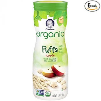 Gerber Organic Puffs Cereal Snack, Apple, Naturally Flavored with Other Natural Flavors, 1.48 Ounce, 6 Count Deal