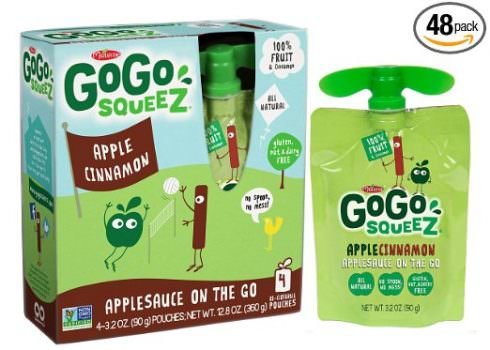 GoGo squeeZ Applesauce on the Go, Apple Cinnamon, 3.2-Ounce Portable BPA-Free Pouches, Pack of 48 (12 Boxes with 4 Portable BPA-Free Pouches Each) Deal