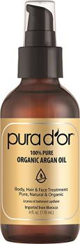 PURA D'OR Organic Moroccan Argan Oil 100% Pure Cold Pressed & USDA Organic Anti-Aging For Face, Hair, Skin & Nails, 4 Fluid Ounce ( packaging may vary ) Deal
