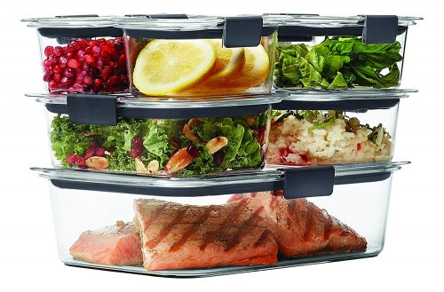 Rubbermaid Brilliance Food Storage Container, 14-Piece Set, 100% Leak-Proof, Plastic, Clear