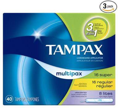 Tampax Cardboard Applicator Tampons, Multipack, Light:Regular:Super Absorbency, Unscented, 40 count - Pack of 3 (120 Total Count) Deal